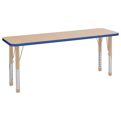 ECR4Kids Thermo-Fused Adjustable 60 x 18 Rectangle Laminate Activity Table Maple/Blue/Sand (ELR-14227-MPBLSDCH)