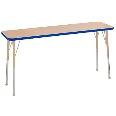 ECR4Kids T-Mold Adjustable Ball 60 x 18 Rectangle Laminate Activity Table Maple/Blue/Sand (ELR-14127-MBLSD-SB)