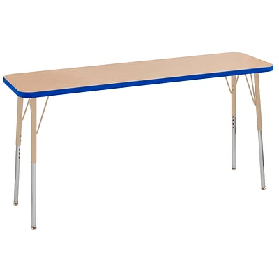 ECR4Kids T-Mold Adjustable Swivel 60 x 18 Rectangle Laminate Activity Table Maple/Blue/Sand (ELR-14127-MBLSD-TS)