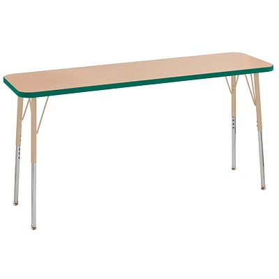 ECR4Kids T-Mold Adjustable Swivel 60 x 18 Rectangle Laminate Activity Table Maple/Green/Sand (ELR-14127-MGNSD-SS)