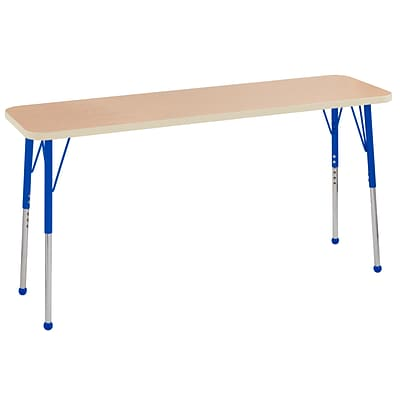 ECR4Kids Thermo-Fused Adjustable Ball 60 x 18 Rectangle Laminate Activity Table Maple/Maple/Blue (ELR-14227-MPMPBLTB)