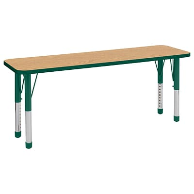 ECR4Kids T-Mold Adjustable 60 x 18 Rectangle Laminate Activity Table Maple/Maple/Green (ELR-14127-MMGN-C)