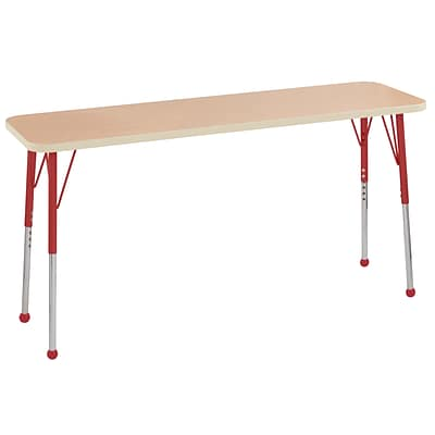 ECR4Kids T-Mold Adjustable Ball 60 x 18 Rectangle Laminate Activity Table Maple/Maple/Red (ELR-14127-MMRD-SB)