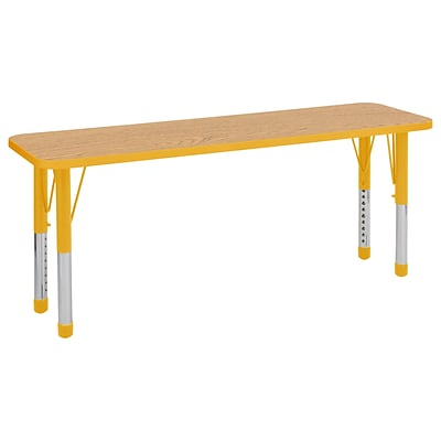 ECR4Kids Thermo-Fused Adjustable 60 x 18 Rectangle Laminate Activity Table Maple/Maple/Yellow (ELR-14227-MPMPYECH)