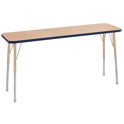 ECR4Kids Thermo-Fused Adjustable Ball 60 x 18 Rectangle Laminate Activity Table Maple/Navy/Sand (ELR-14227-MPNVSDSB)