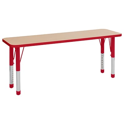 ECR4Kids T-Mold Adjustable 60 x 18 Rectangle Laminate Activity Table Maple/Red (ELR-14127-MRD-C)