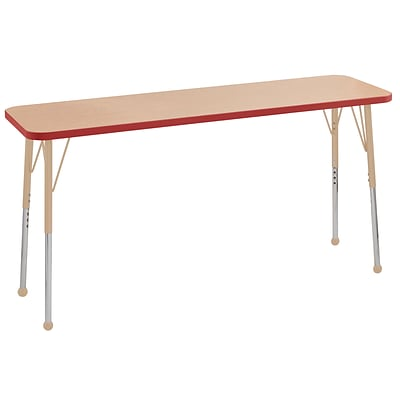 ECR4Kids T-Mold Adjustable Ball 60 x 18 Rectangle Laminate Activity Table Maple/Red/Sand (ELR-14127-MRDSD-TB)