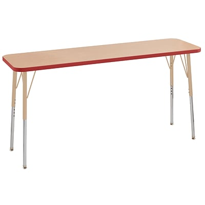 ECR4Kids T-Mold Adjustable Swivel 60 x 18 Rectangle Laminate Activity Table Maple/Red/Sand (ELR-14127-MRDSD-TS)