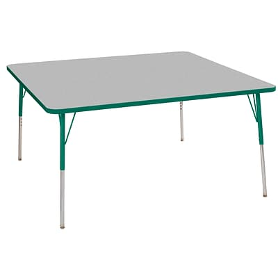 ECR4Kids T-Mold Adjustable Swivel 60 Square Laminate Activity Table Grey/Green (ELR-14128-GGN-SS)
