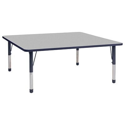 ECR4Kids T-Mold Adjustable 60 Square Laminate Activity Table Grey/Navy (ELR-14128-GNV-C)