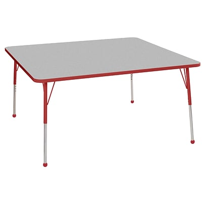 ECR4Kids Thermo-Fused Adjustable Ball 60 Square Laminate Activity Table Grey/Red (ELR-14228-GYRDRDTB)