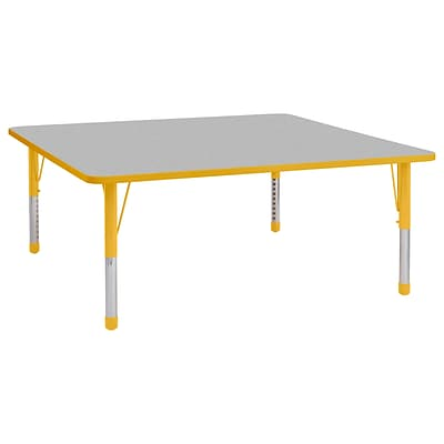 ECR4Kids Thermo-Fused Adjustable 60 Square Laminate Activity Table Grey/Yellow (ELR-14228-GYYEYECH)