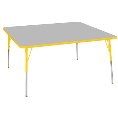 ECR4Kids T-Mold Adjustable Swivel 60 Square Laminate Activity Table Grey/Yellow (ELR-14128-GYE-SS)