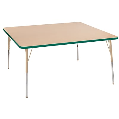 ECR4Kids Thermo-Fused Adjustable Swivel 60 Square Laminate Activity Table Maple/Green/Sand (ELR-14228-MPGNSDSS)