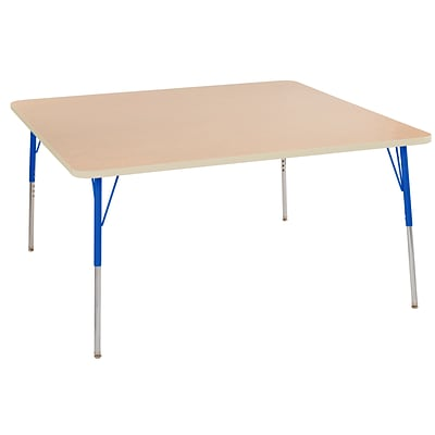 ECR4Kids Thermo-Fused Adjustable Swivel 60 Square Laminate Activity Table Maple/Maple/Blue (ELR-14228-MPMPBLTS)
