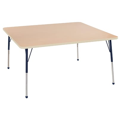 ECR4Kids Thermo-Fused Adjustable Ball 60 Square Laminate Activity Table Maple/Maple/Navy (ELR-14228-MPMPNVTB)