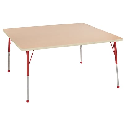 ECR4Kids Thermo-Fused Adjustable Ball 60 Square Laminate Activity Table Maple/Maple/Red (ELR-14228-MPMPRDSB)