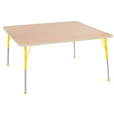 ECR4Kids Thermo-Fused Adjustable Ball 60 Square Laminate Activity Table Maple/Maple/Yellow (ELR-14228-MPMPYESB)