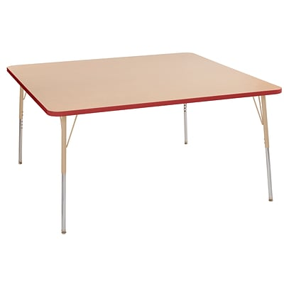 ECR4Kids Thermo-Fused Adjustable Swivel 60 Square Laminate Activity Table Maple/Red/Sand (ELR-14228-MPRDSDTS)