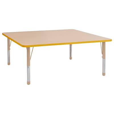 ECR4Kids Thermo-Fused Adjustable 60 Square Laminate Activity Table Maple/Yellow/Sand (ELR-14228-MPYESDCH)