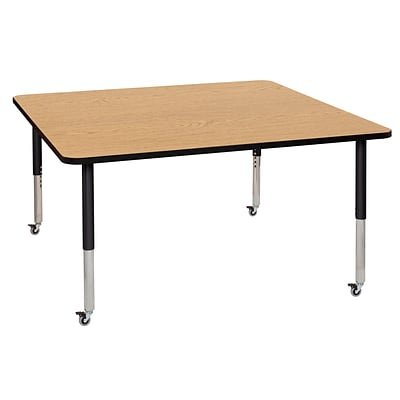 ECR4Kids Thermo-Fused Adjustable Leg 60 Square Laminate Activity Table Oak/Black/Black (ELR-14228-OKBKBKSL)