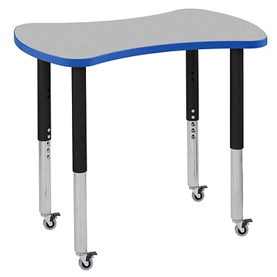 ECR4Kids Thermo-Fused Adjustable Leg 36 Bowtie Laminate Activity Table Grey/Blue/Black (ELR-14229-GYBLBKSL)