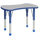 ECR4Kids Thermo-Fused Adjustable 36 Bowtie Laminate Activity Table Grey/Blue (ELR-14229-GYBLBLCH)
