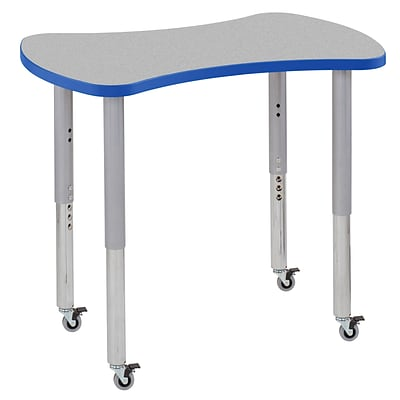 ECR4Kids Thermo-Fused Adjustable Leg 36 Bowtie Laminate Activity Table Grey/Blue/Silver (ELR-14229-GYBLSVSL)