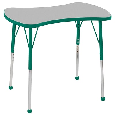 ECR4Kids Thermo-Fused Adjustable Ball 36 Bowtie Laminate Activity Table Grey/Green (ELR-14229-GYGNGNSB)