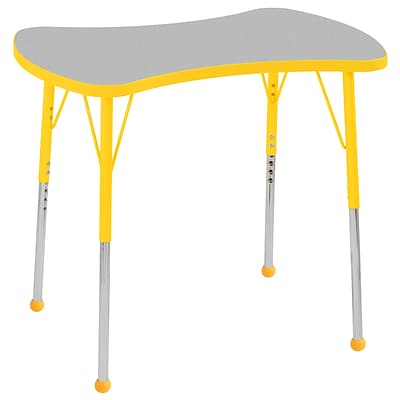 ECR4Kids Thermo-Fused Adjustable Ball 36 Bowtie Laminate Activity Table Grey/Yellow (ELR-14229-GYYEYESB)