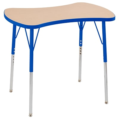 ECR4Kids Thermo-Fused Adjustable Swivel 36 Bowtie Laminate Activity Table Maple/Blue (ELR-14229-MPBLBLTS)