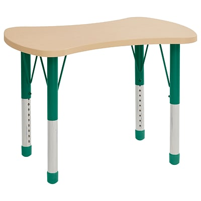 ECR4Kids Thermo-Fused Adjustable 36 Bowtie Laminate Activity Table Maple/Maple/Green (ELR-14229-MPMPGNCH)
