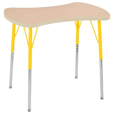 ECR4Kids Thermo-Fused Adjustable Swivel 36 Bowtie Laminate Activity Table Maple/Maple/Yellow (ELR-14229-MPMPYETS)
