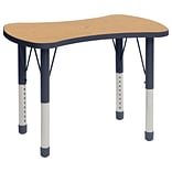 ECR4Kids Thermo-Fused Adjustable 36 Bowtie Laminate Activity Table Oak/Navy (ELR-14229-OKNVNVCH)