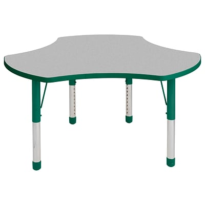 ECR4Kids Thermo-Fused Adjustable 48 Cog Laminate Activity Table Grey/Green (ELR-14230-GYGNGNCH)