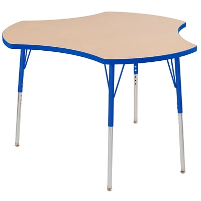 ECR4Kids Thermo-Fused Adjustable Swivel 48 Cog Laminate Activity Table Maple/Blue (ELR-14230-MPBLBLTS)
