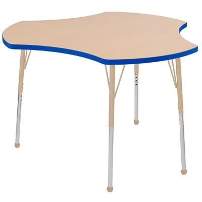 ECR4Kids Thermo-Fused Adjustable Ball 48 Cog Laminate Activity Table Maple/Blue/Sand (ELR-14230-MPBLSDSB)