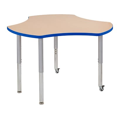 ECR4Kids Thermo-Fused Adjustable Leg 48 Cog Laminate Activity Table Maple/Blue/Silver (ELR-14230-MPBLSVSL)