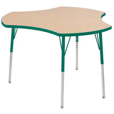 ECR4Kids Thermo-Fused Adjustable Swivel 48 Cog Laminate Activity Table Maple/Green (ELR-14230-MPGNGNSS)