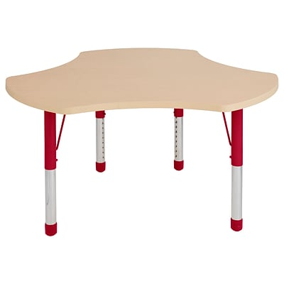 ECR4Kids Thermo-Fused Adjustable 48 Cog Laminate Activity Table Maple/Maple/Red (ELR-14230-MPMPRDCH)