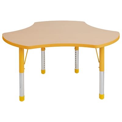 ECR4Kids Thermo-Fused Adjustable 48 Cog Laminate Activity Table Maple/Yellow (ELR-14230-MPYEYECH)