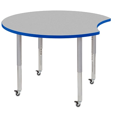 ECR4Kids Thermo-Fused Adjustable Leg 48 Crescent Laminate Activity Table Grey/Blue/Silver (ELR-14231-GYBLSVSL)