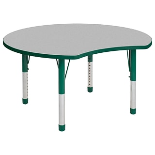 ECR4Kids Thermo-Fused Adjustable 48 Crescent Laminate Activity Table Grey/Green (ELR-14231-GYGNGNCH