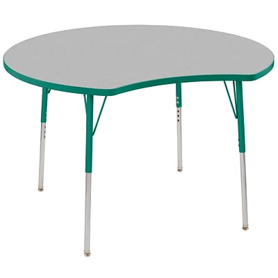 ECR4Kids Thermo-Fused Adjustable Swivel 48 Crescent Laminate Activity Table Grey/Green (ELR-14231-GYGNGNSS)