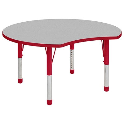 ECR4Kids Thermo-Fused Adjustable 48 Crescent Laminate Activity Table Grey/Red (ELR-14231-GYRDRDCH)