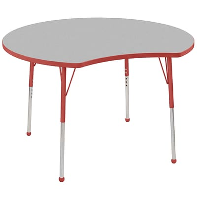 ECR4Kids Thermo-Fused Adjustable Ball 48 Crescent Laminate Activity Table Grey/Red (ELR-14231-GYRDRDSB)