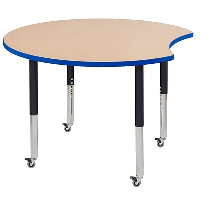 ECR4Kids Thermo-Fused Adjustable Leg 48 Crescent Laminate Activity Table Maple/Blue/Black (ELR-14231-MPBLBKSL)