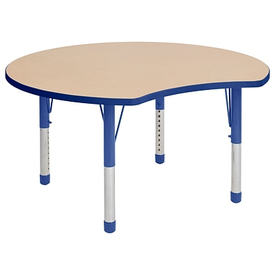 ECR4Kids Thermo-Fused Adjustable 48 Crescent Laminate Activity Table Maple/Blue (ELR-14231-MPBLBLCH)