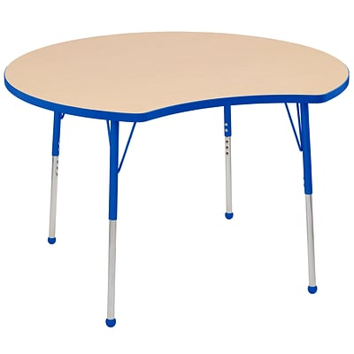 ECR4Kids Thermo-Fused Adjustable Ball 48 Crescent Laminate Activity Table Maple/Blue (ELR-14231-MPBLBLSB)