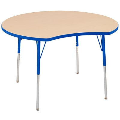 ECR4Kids Thermo-Fused Adjustable Swivel 48 Crescent Laminate Activity Table Maple/Blue (ELR-14231-MPBLBLTS)